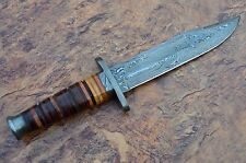 "DAMASCUS STEEL BLADE WWII USMC MILITARY KNIFE,LEATHER HANDLE ,OVERALL 12.50""INCH"