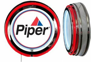 Piper Aircraft Logo Sign, Neon Sign, RED Outside Neon, No Clock Airplane
