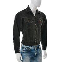 Lee Rider per Uomo Denim Jeans Giacca TAGLIA S Diabetici Grigio Top Bottoni