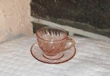 Rosaline CUP AND SAUCER SET  swirl Luminarc pink glass