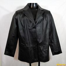 CLIO Soft LEATHER Blazer Jacket Buttoned up Womens Size 16 Black