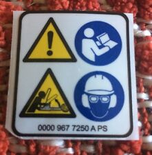 STIHL MS CHAINSAW SQUARE WARNING PICTOGRAM  STICKER DECAL NEW
