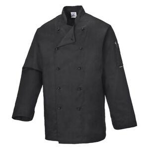 Long Sleeve Black Chefs Jacket Portwest Somerset C834 BNWT