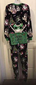 Meowy Catmas Drop-seat Christmas 1 Piece Union Suit Pajamas/PJs - Womens Size S