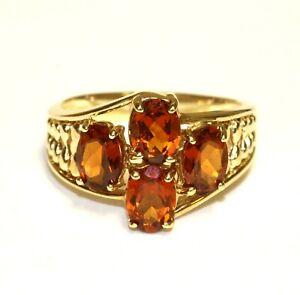 10k yellow gold oval citrine gemstone cluster ring 4g estate 7.75
