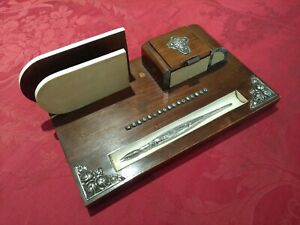 Old inkdesk artdeco + silver pen - wood and portuguese silver