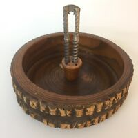 Collectable Vintage  Large Rustic Wood Tree Trunk Nut Cracker Bowl with Cracker