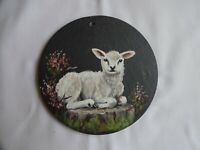 Lamb Hand Painted On Welsh Slate Signed By Elaine Birch Diameter 11 cm