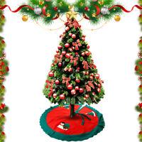 Christmas Tree Skirt Apron Santa Snowman Claus Print Ornament Xmas Party Decor