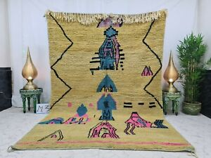 "Moroccan Boujaad Handmade Vintage Rug 6'7""x9'8"" Berber Abstract Yellow Blue Rug"