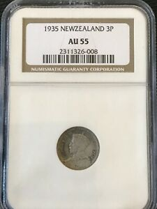 1935 New Zealand 3 Pence .5 Silver Coin NGC AU55
