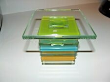 Partylite Large Square Multi Colored Prism Candle Holder P9271