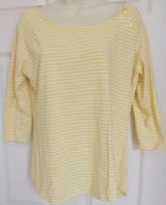 Top Blouse BANANA REPUBLIC Large Yellow & White Stripes 3/4 Sleeves Stretch