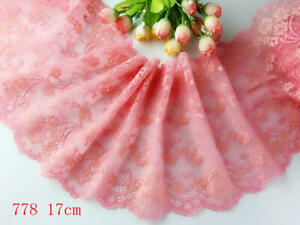 "6.5""*1yard delicate Elastic/Spandex Soft Flower Floral lace trim Craft 778"
