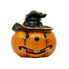 Pumpkin W/ Witch Hat Trinket Box Smiling Jack-O-Lantern Halloween Home Decor