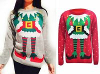 Womens Ladies Knitted Santa Elf Novelty Christmas Long Sweater Jumper Plus 8-32