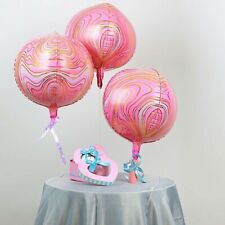 """3 Pink Marble 13"""" 4D Orbz Round Mylar Foil Balloons Wedding Party Supplies"""