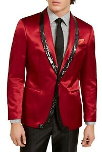 Tallia Mens Tuxedo Blazer Red Size 40 Short Satin Sequin Shawl Collar $350 134