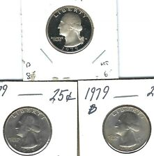 1979-S San Francisco 25 Cent Proof Type I, with nice P & D Washingtons, 3 Coins
