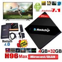 H96 Max Android 7.1 Smart TV Box 4GB/32GB Quad-Core RK3399 4K HDR10 BT Latest