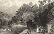 CUMBRIA. Gilsland Spa. Figures Drinking. Cumberland. (Allom) 1832 old print