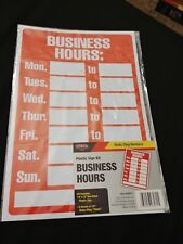 Plastic Business Hours Door Window Store Sign Static Cling Times Custom Outdoor