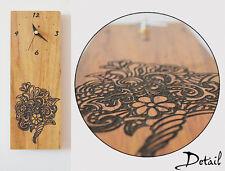 Flower Bouquet Engraved Wood - Wall Clock