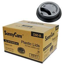SunnyCare 12, 16, 20 oz. Black Plastic Travel Lid 1000 / Case