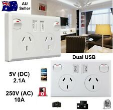 DOUBLE USB CHARGER DUAL POWER SOCKET POWER POINT GPO 10A WITH SWITCHES APPROVED