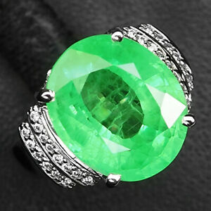 EMERALD GREEN OVAL 13.10 CT. SAPPHIRE 925 STERLING SILVER RING SZ 6.25 JEWELRY