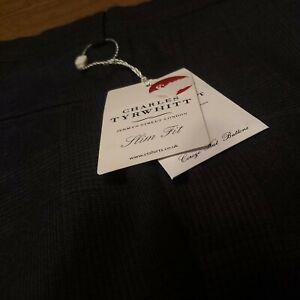 Charles Thrwhitt Pants Mens 32x32 Slim Dark Grey Business Trouser wool