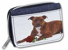 Staffie with Red Rose Girls/Ladies Denim Purse Wallet Christmas Gift, AD-SBT6RJW