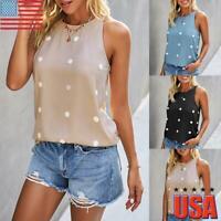 Women Polka Dot Print Vest Tank Top Ladies Sleeveless Summer Casual Shirt Blouse