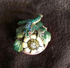 Jay Strongwater Enameled Mini Trinket Box withFlower Frog & Swarovski Crystals