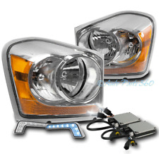 04-05 DODGE DURANGO CRYSTAL REPLACEMENT HEADLIGHTS CHROME W/BLUE DRL LED+6K HID