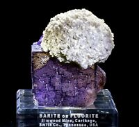 Huge Barite Ball on Purple Fluorite Cube from the Elmwood Mine in Tennessee