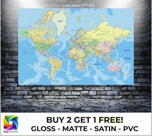 World Map Atlas Detailed Large Poster Wall Art Print Gift in Multiple Sizes