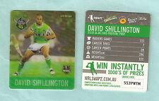 #D535.  NRL 2011 RUGBY LEAGUE TAZO #35 DAVID SHILLINGTON, CANBERRA RAIDERS
