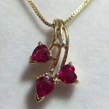 10k Yellow Gold Ruby Sapphire 3 Heart Diamond Love Estate Mom Girl Charm Pendant