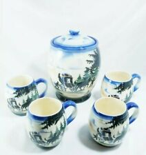 Vintage Erphila Art Pottery Cookie Jar & Cocoa Mugs Czech Air-Brushed Stagecoach