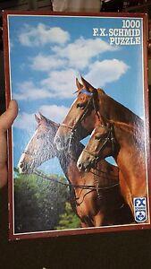 """F.X. Schmid """"Three Generations of Morgan Horses"""" 27"""" x 18"""" jigsaw puzzle"""