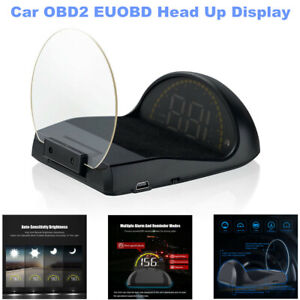 Car OBD2 EUOBD LED Driving HUD Head Up Display Speedometer Projector RPM Mileage