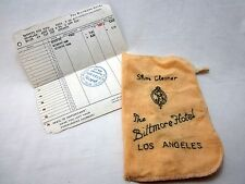 Biltmore Hotel Los Angeles CA Shoe Shine Cleaner Cloth and Receipt 1959