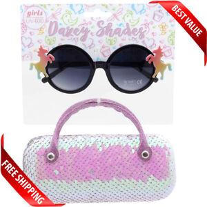 Girls Kids Sunglasses Unicorn Shape with Hand Case Ages 6 - 12 Tween Girl Cute