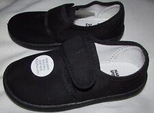 NUEVO Los Niños Negro Zapatillas De Lona Gimnasio