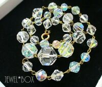VINTAGE 1950s UNUSUAL  AURORA BOREALIS and CLEAR CRYSTAL BEADS WIRED NECKLACE