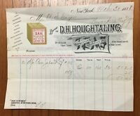 Antique 1888 TEA Billhead Houghtaling Importer New York Box Graphic Oolong +