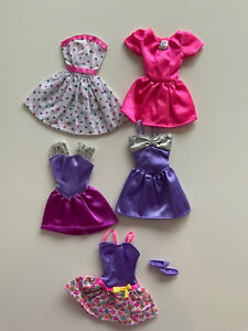 Vintage 1990s Barbie Fashion 5 x Dresses And One Pair Of Shoes Job lot