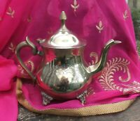 Antique Indian Silver Plate Footed Teapot Tin Lined Flower Engraved RA Mark?