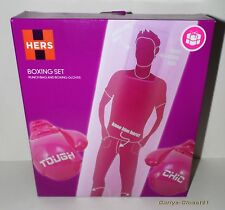 HERS BOXING SET * Inflatable Punch Bag & Gloves * Tough Chic * Novelty Gift *